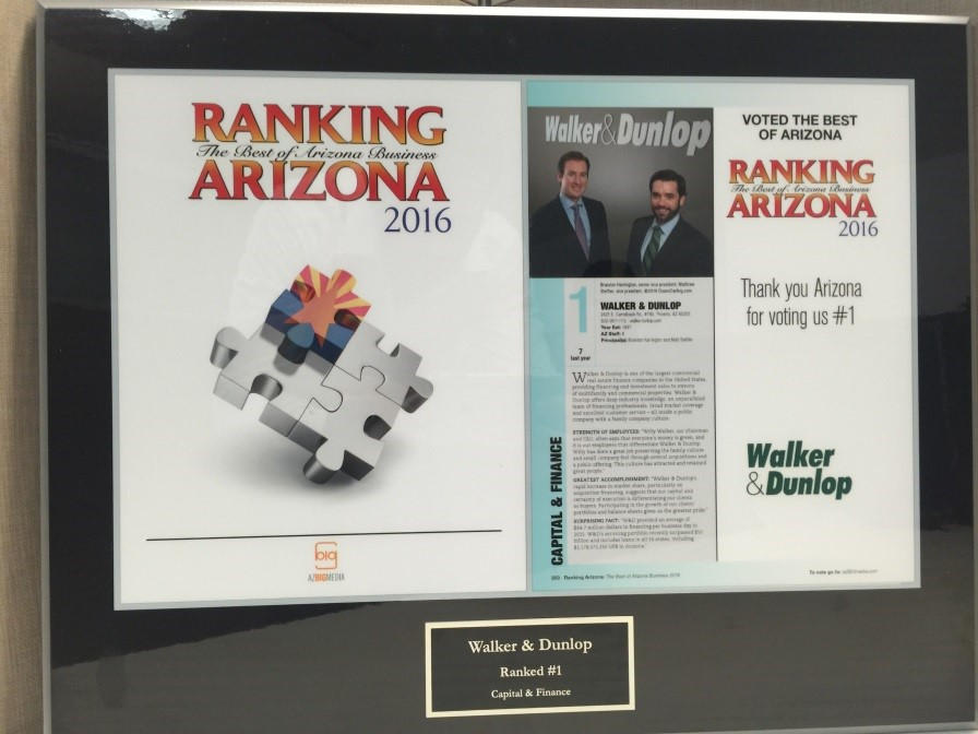 Walker & Dunlop Receives Top Award by Ranking Arizona